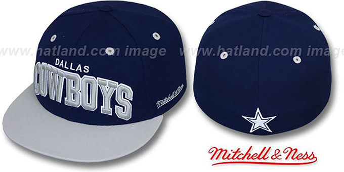 Cowboys '2T CLASSIC-ARCH' Navy-Grey Fitted Hat by Mitchell & Ness