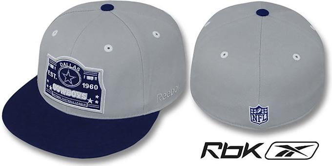 Cowboys '2T ESTABLISHED' Grey-Navy Fitted Hat by Reebok : pictured without stickers that these products are shipped with
