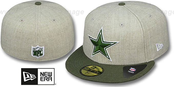 Cowboys '2T-HEATHER ACTION' Tan-Olive Fitted Hat by New Era : pictured without stickers that these products are shipped with
