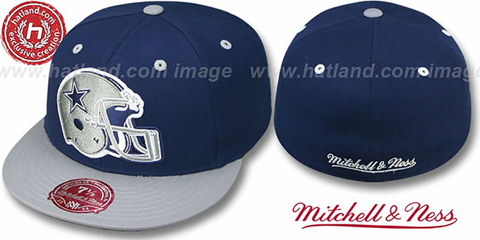 Cowboys '2T XL-HELMET' Navy-Grey Fitted Hat by Mitchell & Ness : pictured without stickers that these products are shipped with