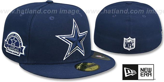 Cowboys 5X 'TITLES SIDE-PATCH' Navy Fitted Hat by New Era : pictured without stickers that these products are shipped with
