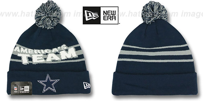 Cowboys 'AMERICAS TEAM' Navy Knit Beanie Hat by New Era : pictured without stickers that these products are shipped with