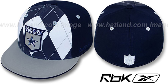 Cowboys 'ARGYLE-SHIELD' Navy-Grey Fitted Hat by Reebok : pictured without stickers that these products are shipped with