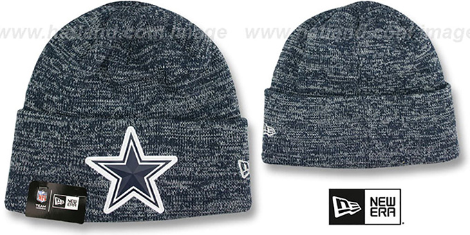 cddeea7f Dallas Cowboys BEVEL Navy-Grey Knit Beanie Hat by New Era