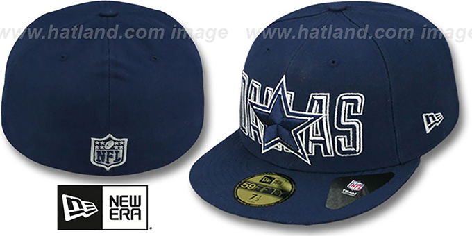 Cowboys 'BEVEL-PITCH' Navy Fitted Hat by New Era : pictured without stickers that these products are shipped with