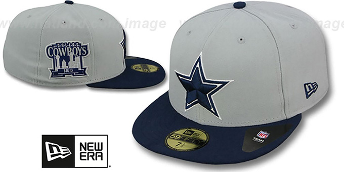 Cowboys 'BIG-D TEAM-PATCH' Grey-Navy Fitted Hat by New Era : pictured without stickers that these products are shipped with