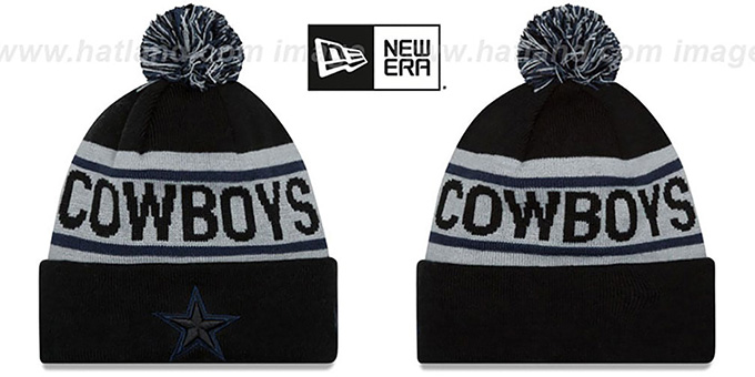 Cowboys 'BIGGEST FAN' Black-Grey Knit Beanie Hat by New Era : pictured without stickers that these products are shipped with