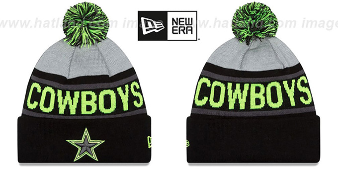 Cowboys 'BIGGEST FAN' Black-Lime Knit Beanie Hat by New Era : pictured without stickers that these products are shipped with