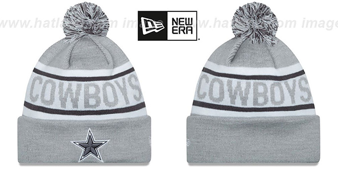 Cowboys 'BIGGEST FAN' Grey-White Knit Beanie Hat by New Era : pictured without stickers that these products are shipped with