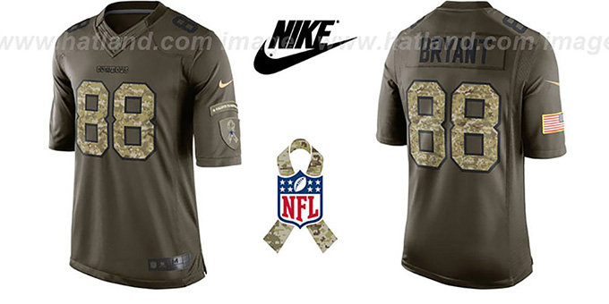 Cowboys 'BRYANT SALUTE TO SERVICE' Jersey by Nike : pictured without stickers that these products are shipped with