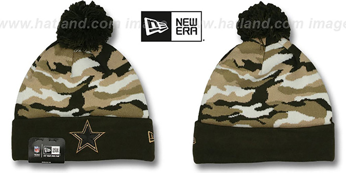 Cowboys 'CAMO CAPTIVATE' Brown Knit Beanie Hat by New Era : pictured without stickers that these products are shipped with