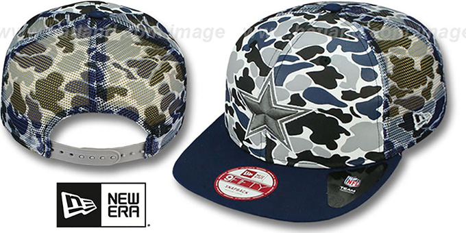 Cowboys 'CAMO-FACE' MESH SNAPBACK Blue Hat by New Era : pictured without stickers that these products are shipped with