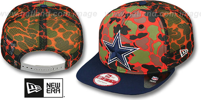 Cowboys 'CAMO-FACE' MESH SNAPBACK Orange Hat by New Era : pictured without stickers that these products are shipped with