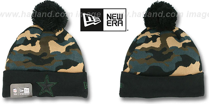 Cowboys 'CAMO-TOP' Black-Army Camo Knit Beanie Hat by New Era : pictured without stickers that these products are shipped with