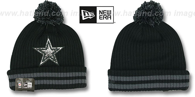 Cowboys 'CHILLER FILLER BEANIE' Black-Grey by New Era : pictured without stickers that these products are shipped with