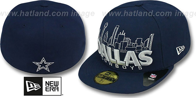 Cowboys 'CITY SERIES WORD' Navy Fitted Hat by New Era : pictured without stickers that these products are shipped with