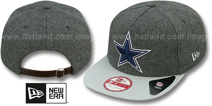 Cowboys 'CLASSIC MELTON' STRAPBACK Grey-Grey Hat by New Era : pictured without stickers that these products are shipped with