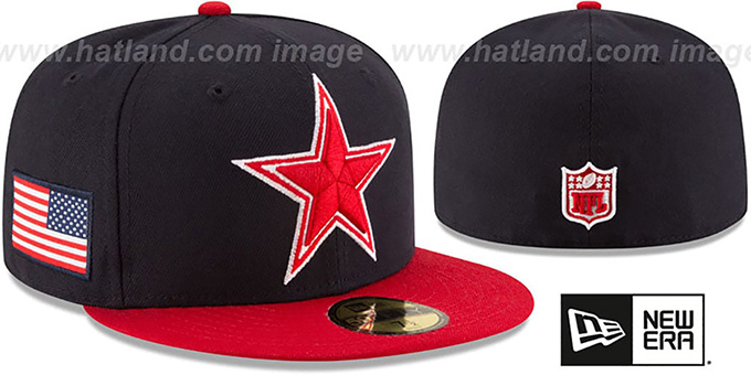 Cowboys 'COUNTRY COLORS' Navy-Red Fitted Hat by New Era : pictured without stickers that these products are shipped with