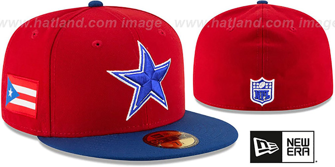 Cowboys 'COUNTRY COLORS' Red-Royal Fitted Hat by New Era : pictured without stickers that these products are shipped with