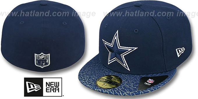Cowboys 'CRAKLE-VIZE' Navy Fitted Hat by New Era : pictured without stickers that these products are shipped with