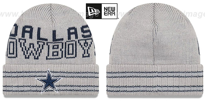 Cowboys 'CRISP-N-COZY' Grey Knit Beanie Hat by New Era