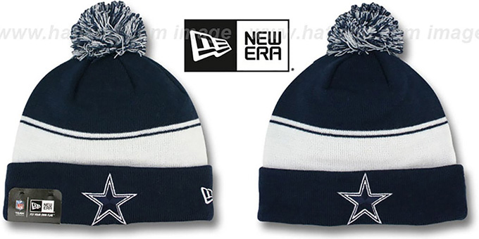 Cowboys 'CUFF-FLIP' Navy-White Knit Beanie Hat by New Era : pictured without stickers that these products are shipped with