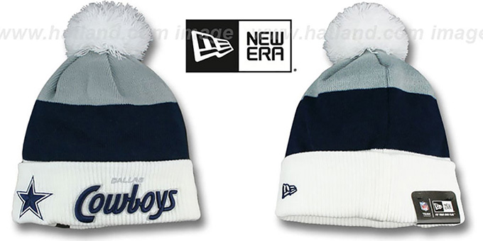 Cowboys 'CUFF-SCRIPTER' White-Navy-Grey Knit Beanie Hat by New Era : pictured without stickers that these products are shipped with
