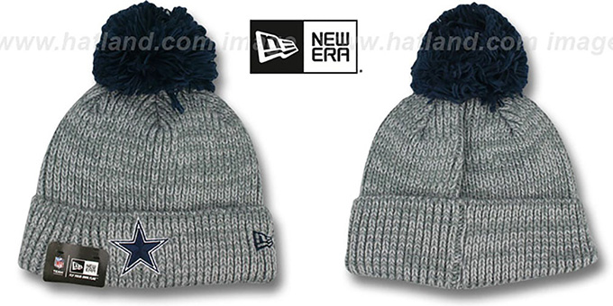 Cowboys 'CUFF START' Grey Knit Beanie Hat by New Era : pictured without stickers that these products are shipped with