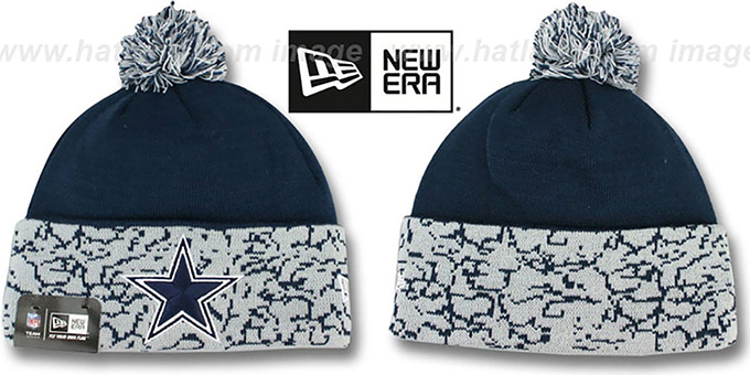 Cowboys 'CUFFD CHAOS' Navy-Grey Knit Beanie Hat by New Era : pictured without stickers that these products are shipped with