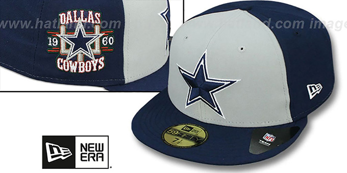 Cowboys 'CUSTOMIZER' Grey-Navy Fitted Hat by New Era : pictured without stickers that these products are shipped with