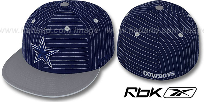 Cowboys 'CUTTER' Navy-Grey Fitted Hat by Reebok : pictured without stickers that these products are shipped with