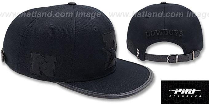 Cowboys 'D-STAR STRAPBACK' Black-Black Hat by Pro Standard