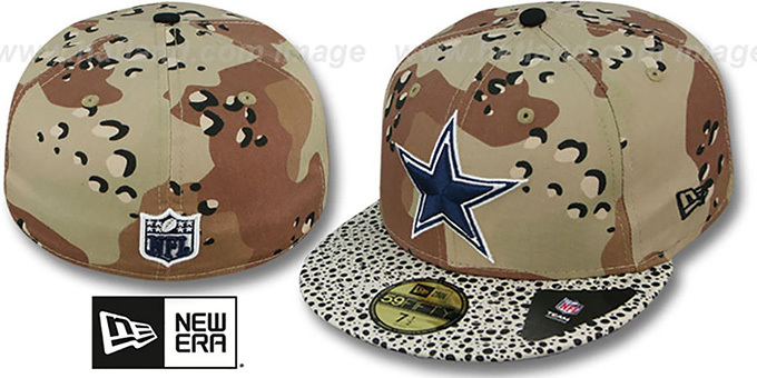 Cowboys 'DESERT STORM CAMO-HOOKED' Fitted Hat by New Era : pictured without stickers that these products are shipped with