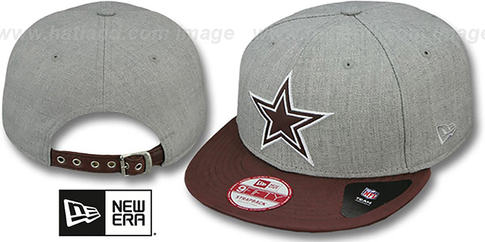 Cowboys 'EMBOSSER STRAPBACK' Grey-Brown Hat by New Era : pictured without stickers that these products are shipped with