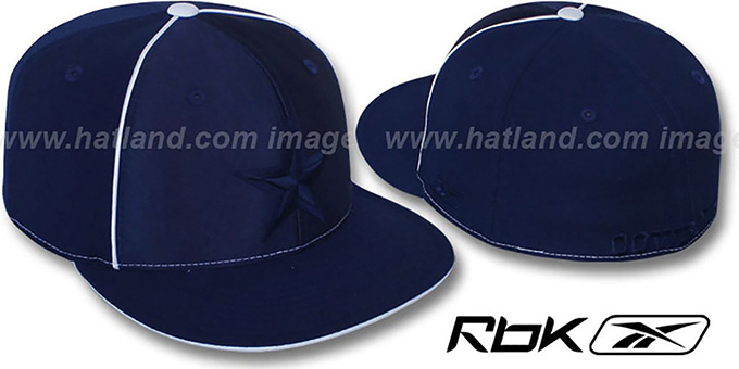 Cowboys 'EXTREME' Navy Fitted Hat by Reebok : pictured without stickers that these products are shipped with