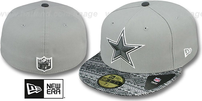 Cowboys 'FAIR ISLE FLIP' Grey Fitted Hat by New Era : pictured without stickers that these products are shipped with