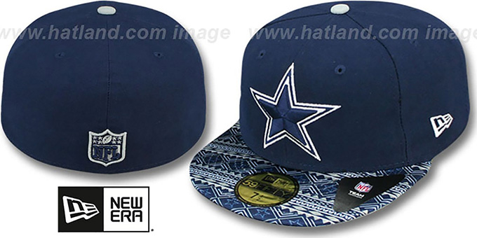 Cowboys 'FAIR ISLE FLIP' Navy Fitted Hat by New Era : pictured without stickers that these products are shipped with