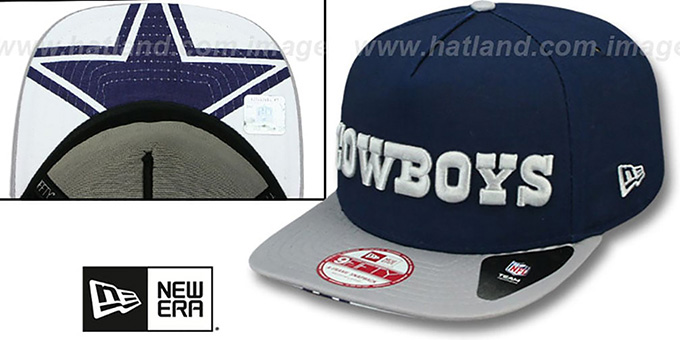 Cowboys 'FLIP-UP A-FRAME STRAPBACK' Navy-Grey Hat by New Era : pictured without stickers that these products are shipped with