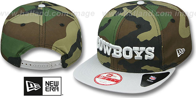 Cowboys 'FLIP-UP SNAPBACK' Army-Grey Hat by New Era : pictured without stickers that these products are shipped with
