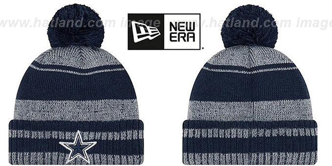 Cowboys 'GLACIAL' Navy-Grey Knit Beanie Hat by New Era