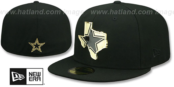 Cowboys 'GOLD STATED METAL-BADGE' Black Fitted Hat by New Era