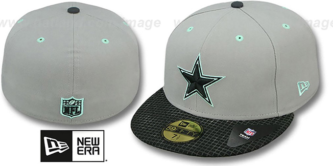 Cowboys 'GREEN-GLOW' Grey-Black Fitted Hat by New Era : pictured without stickers that these products are shipped with