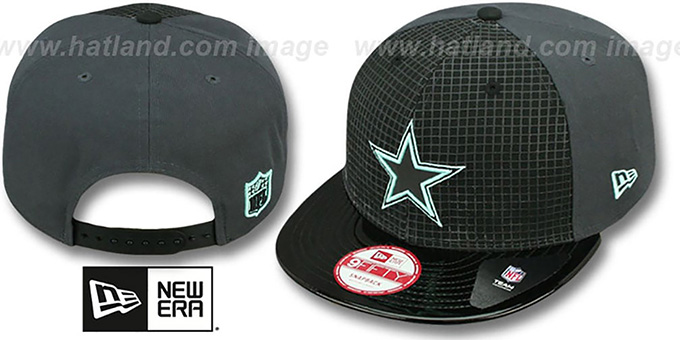 Cowboys 'GREEN-GLOW SNAPBACK' Black-Charcoal Hat by New Era : pictured without stickers that these products are shipped with
