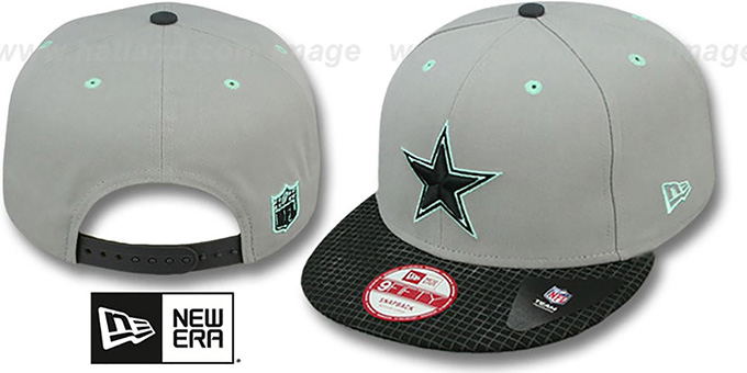 Cowboys 'GREEN-GLOW SNAPBACK' Light Grey-Black Hat by New Era : pictured without stickers that these products are shipped with