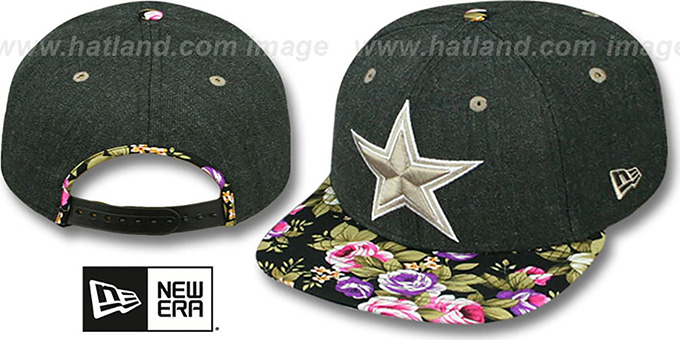 Cowboys 'HEATHER BLOOM SNAPBACK' Charcoal-Black Hat by New Era : pictured without stickers that these products are shipped with