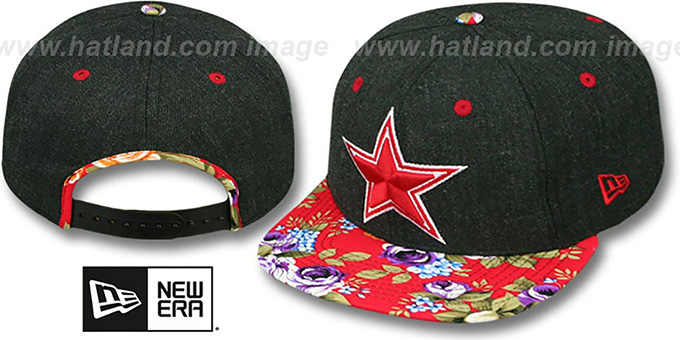 Cowboys 'HEATHER BLOOM SNAPBACK' Charcoal-Red Hat by New Era : pictured without stickers that these products are shipped with