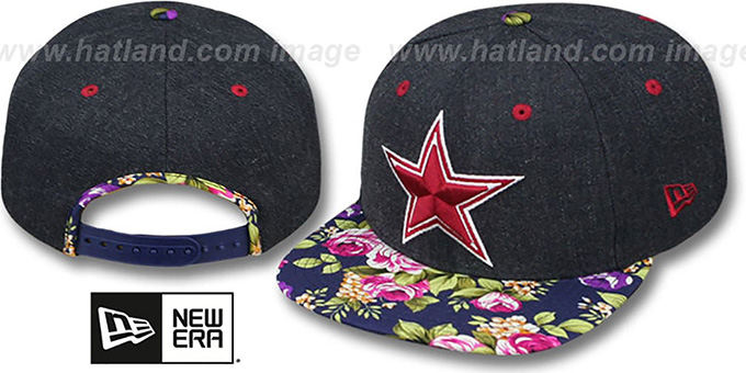 Cowboys 'HEATHER BLOOM SNAPBACK' Navy Hat by New Era : pictured without stickers that these products are shipped with
