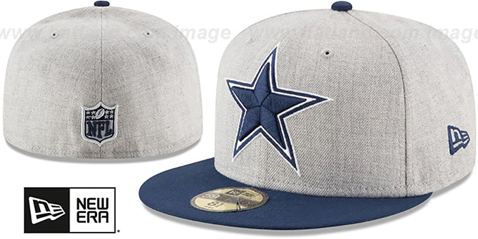 9649d486544 Dallas Cowboys HEATHER GRAND Grey-Navy Fitted Hat by New Era