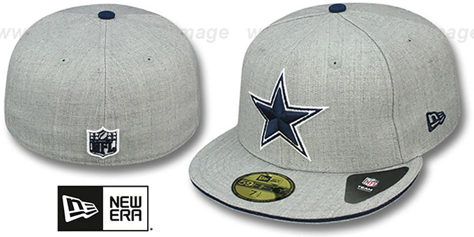 Cowboys 'HEATHER SLICE' Grey Fitted Hat by New Era : pictured without stickers that these products are shipped with