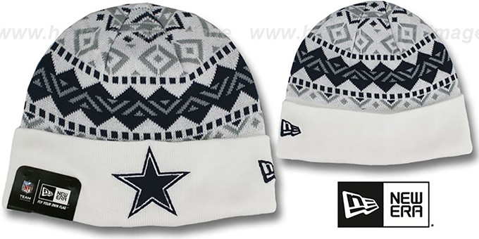 Cowboys 'IVORY CUFF' White Knit Beanie Hat by New Era : pictured without stickers that these products are shipped with